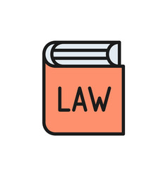 Book with laws constitution flat color icon vector