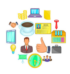 businessman icons set cartoon style vector image