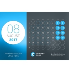 Calendar Template for August 2017 Design vector image