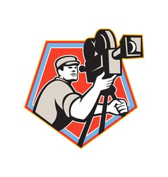 Cameraman Vintage Film Reel Camera Retro vector image