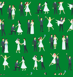cartoon newlyweds people posing seamless pattern vector image