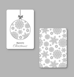 christmas and new year visiting card with vector image