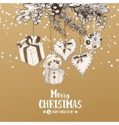 Christmas card with Stylish sketches vector image