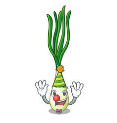 Clown fresh scallion isolated on the mascot vector