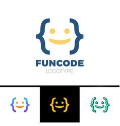 code bracket man logo - head of smile man done vector image