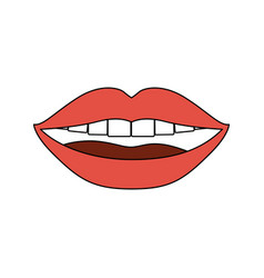 Color sections silhouette of smiling mouth with vector