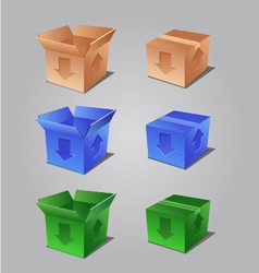 colorful open and closed boxes vector image