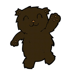 Comic cartoon waving black bear vector