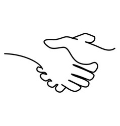 continuous one line a handshake vector image