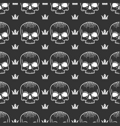 Crown and skull seamless pattern vector