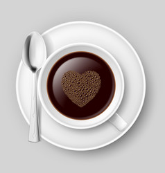 Cup of coffee with heart top on grey background vector