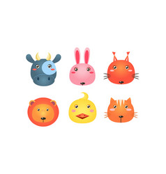 Cute animal heads set funny faces of cow bunny vector