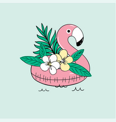 cute inflatable flamingo for sea vector image