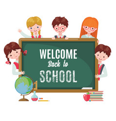cute kids with chalkboard and school supplies vector image