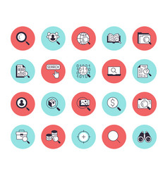 Data search flat line icons set magnify glass vector