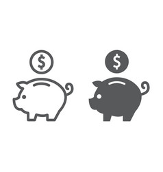deposit line and glyph icon finance and banking vector image