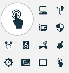 Device icons set with charger adapter cursor and vector