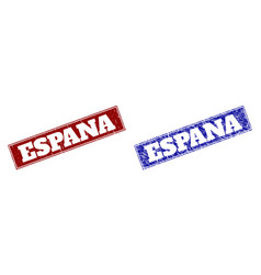 Espana blue and red rectangle stamps with unclean vector