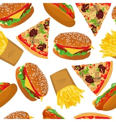 Fast food seamless on white background vector image