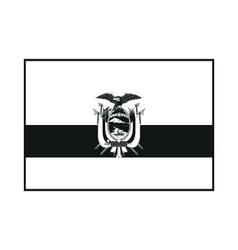 Flag of Ecuador with coat of arms monochrome on vector image