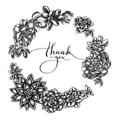 Floral wreath black and white succulent vector