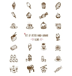 Food hand-drawn sketch line icons vector