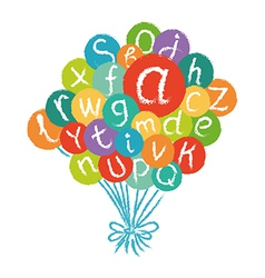 Funny english alphabet in colorful air balloons vector image