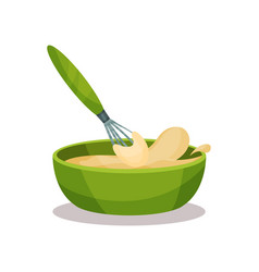 green ceramic bowl full of freshly prepared dough vector image