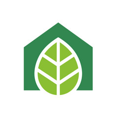 Green house logo green leaf and home icon eco vector