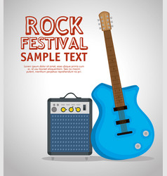 guitar electric instrument label vector image