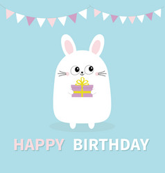 Happy birthday white bunny rabbit holding gift vector