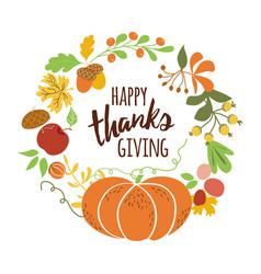 happy thanksgiving pumpkin wreath text vector image