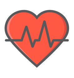 heartbeat filled outline icon medicine vector image