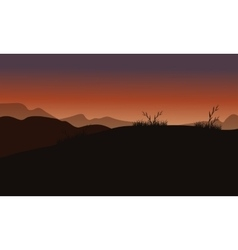 Hills at sunset scenery vector image