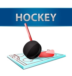 Hockey stick puck and ice arena emblem vector image