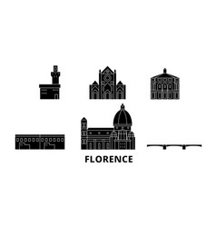 Italy florence flat travel skyline set italy vector