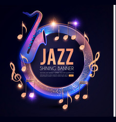 jazz concert poster template with guitar shining vector image