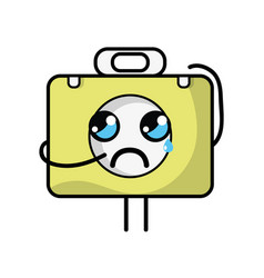 Kawaii cute crying briefcase and medical kit vector