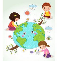 Kids drawing earth vector