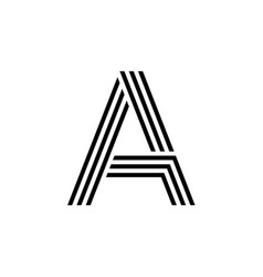 letter a with geometric three strips logo vector image