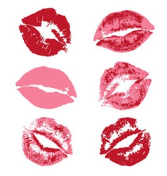 Lipstick kiss print vector