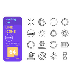 Loading bar line icons set vector