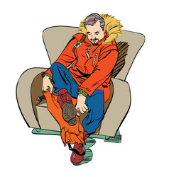 male polar wears boots overshoes vector image