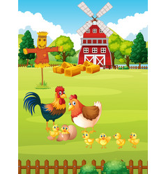 many chickens on the farm vector image