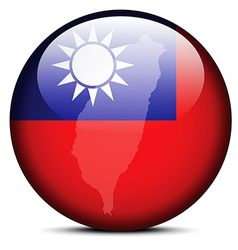 Map on flag button of Republic China vector