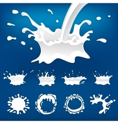 Milk splash set isolated vector