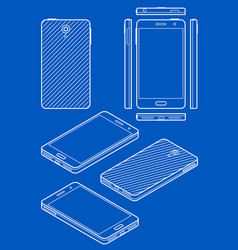 mobile phone drawing in blueprint style vector image