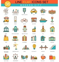 Modern city flat line icon set Modern vector