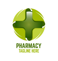 modern cross pharmacy logo vector image