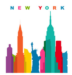 Multicolored new york city flat vector